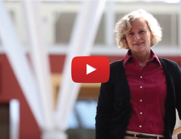 Screen capture from video showing Bettina Cornwell in the Lillis Business Complex