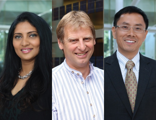 Photo collage of three new faculty members