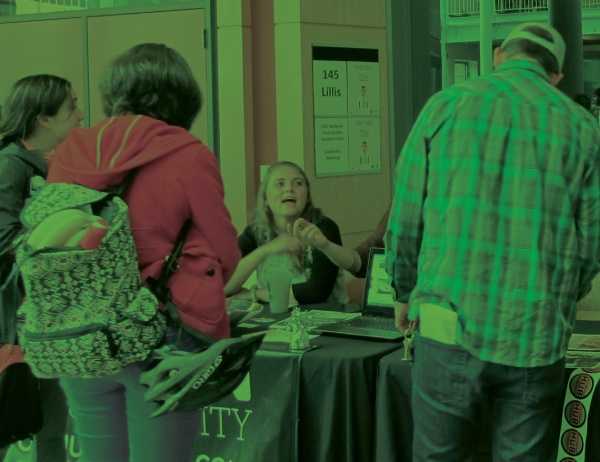 Students check out a vendor table at SPRNG conference