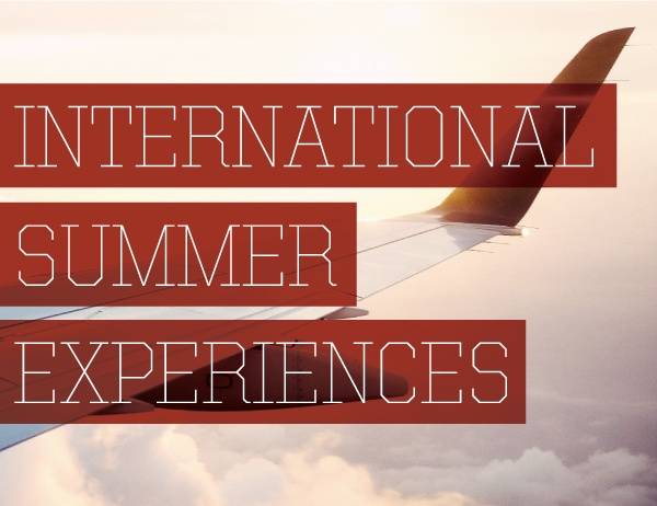 Photo of a plane wing with text on top saying International Summer Experiences