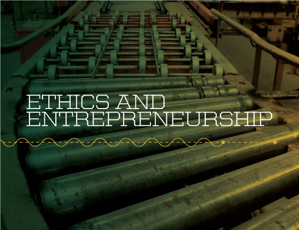 The text 'Ethics and Entrepreneurship' against a background image of an assembly line belt