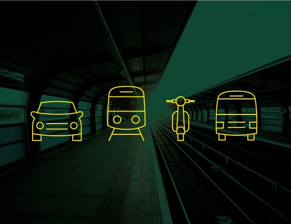 Icons of transportation methods atop a green background image of a train station