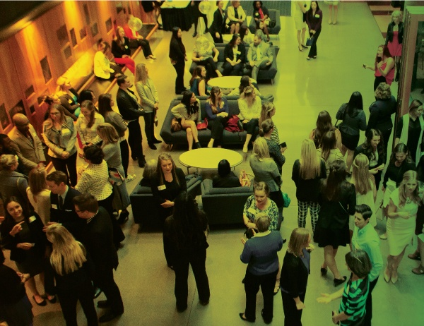 Aerial shot of attendees gathered at the 2016 Women in Business gala