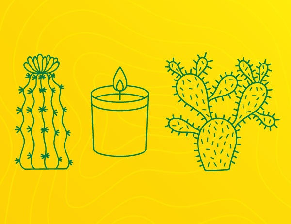 Graphic lineart of cactuses and candles