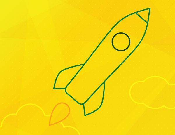 Green lineart of a rocket against a yellow background