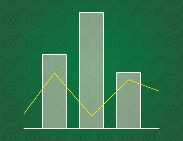 Graphic design of a bar chart in light green against a green background