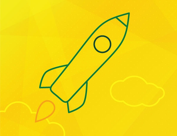 Green icon lineart of a rocket on a yellow background