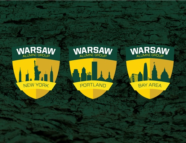 Seals of the three regional Warsaw Alumni Groups