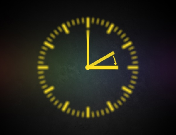 Image of a blurry line drawn clock on a dark background