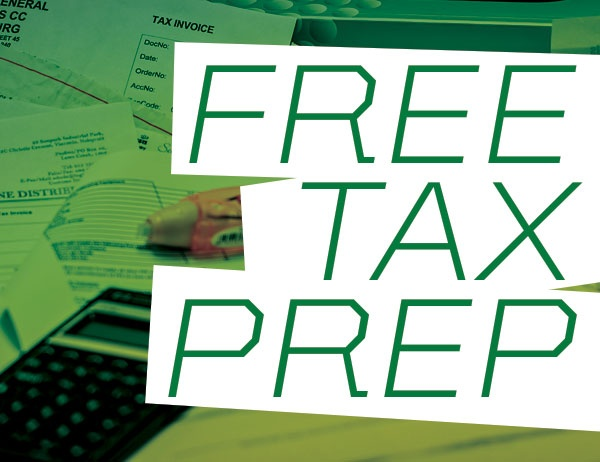 """Free Tax Prep"" against background of tax documents"