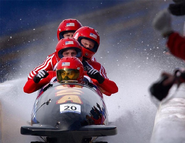 Bobsled team competes in the Olympics