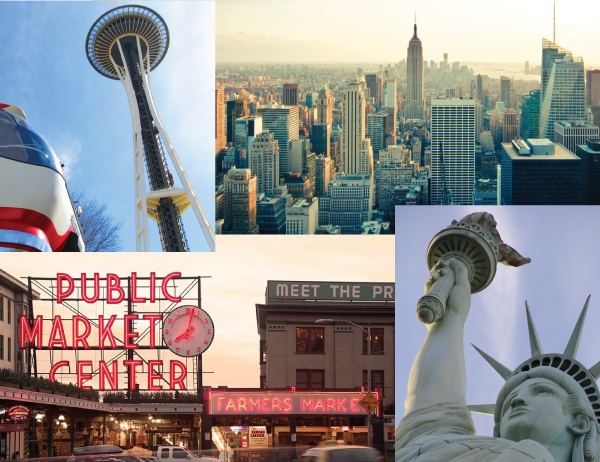 Real-World New York and Seattle